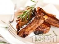 Рецепта Вкусни свински ребра печени на скара в медена марината